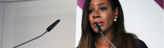 "Regisseurin Amma Asante beim Panel ""Get Networked Up"""