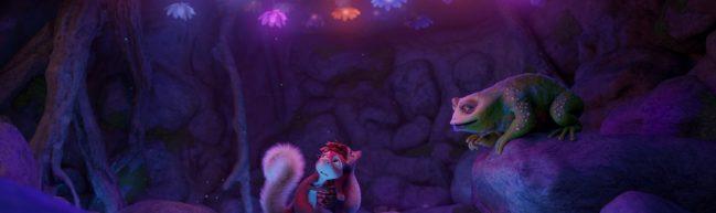 Latte und Tjum in einer bunt erleuchtete Höhle, im Gespräch mit einer Kröte