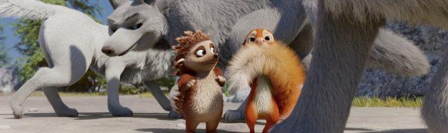Latte und Tjum werden von Wölfen umkreist, Tjum hält sich seinen Eichhörnchenschwanz vor das Gesicht