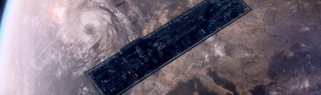 Das Raumschiff ANIARA in Aufsicht über Europa schwebend