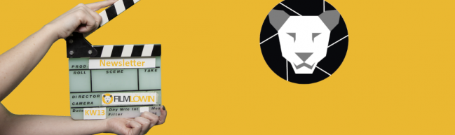 Eine Filmklappe auf der Newsletter steht und ein schwarz weißer Löwinnenkopf als Logo auf gelbem Hintergrund